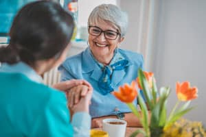 Woman with Alzheimer's smiling
